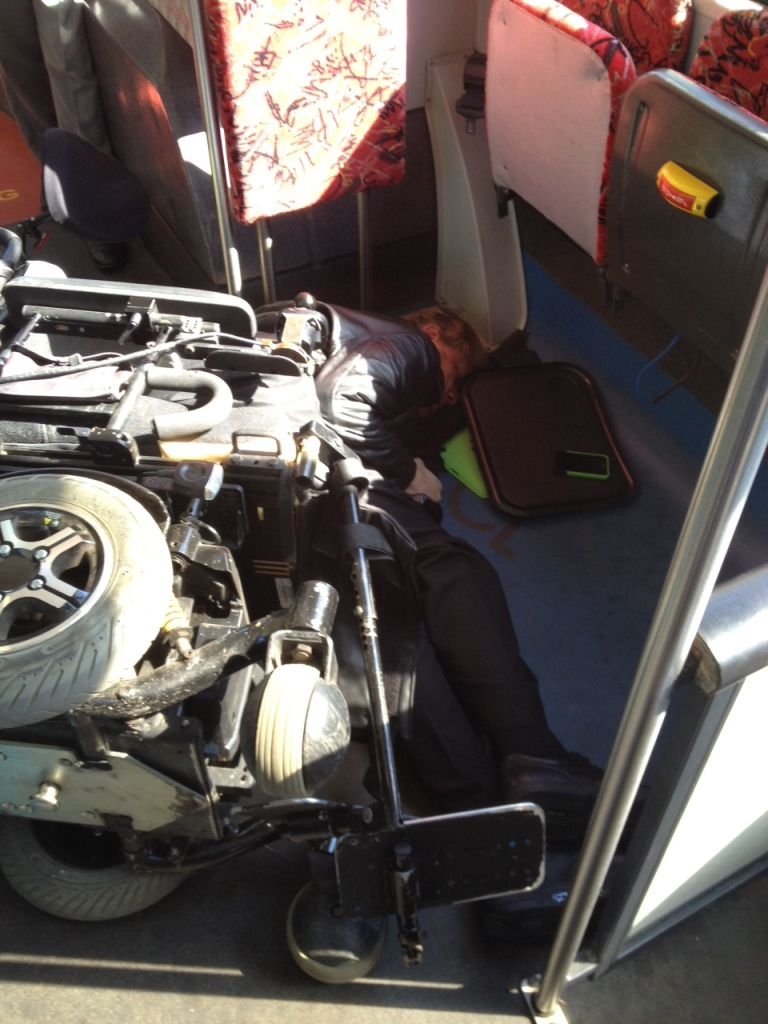 Shane Clifton, crashed on the floor of the bus